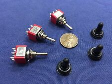 3 pieces RED Waterproof Momentary Mini Toggle Switch (ON)-OFF-(ON) 6 pin 1/4 A5