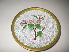 """Chinese White With Floral Cloisonne Plate - 4"""" - Vintage - MINT"""