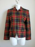 EUC Jones New York Women's Red Plaid Zip Jacket w/ Shoulder Pads Sz 4 100% Wool