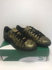 Puma Womens Size 8 Basket Classic Gold Black Metal Sneakers Shoes