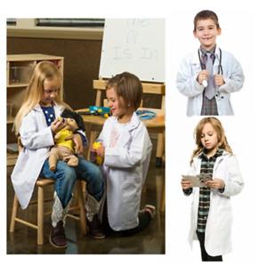 White Lab Coat Doctor Hospital Scientist School Children Fancy Dress Costume AU