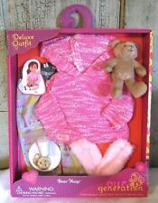 "AG Our Generation 18"" Girl Doll Bear Hugs Pajamas Milk & Cookies Clothes Outfit"