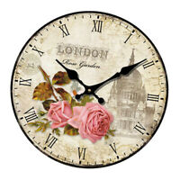 14'' Large Fashion Wooden Wall Clock Home Kitchen Living Room Art Decoration