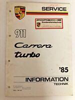 Original Porsche Service Manual  911 Carrera Turbo 1985 Information
