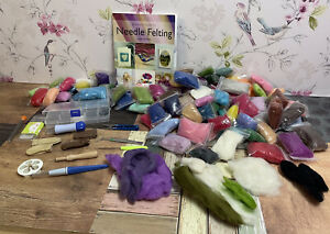 Large Job Lot Bundle Of Needle Felting Items- Book, Felting Wool, Tools Etc