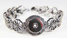 18-20mm High Quality Metal Silver Fit 1 Buttons Click Snap On Bracelet 169