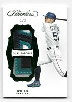 ICHIRO 2019 PANINI FLAWLESS BASEBALL EMERALD DUAL GAME USED PATCHES 4 COLORS 1/3