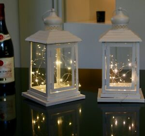 Wedding gift set 2 Cream METAL Lanterns free 20 LED lights batteries all year