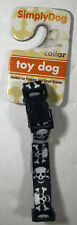 SimplyDog Black Skull & Crossbones  Collar Toy Breeds Puppies 3/8 x 6-9 inches
