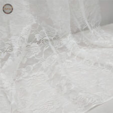 Floral Lace Fabric Tulle Voile Non Stretch Mesh Net Wedding Bridal Dress 150cm W White Rose by The Metre (100x 150cm)