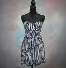 Bar Iii Women's Strapless Dress Size Small Blue & White Summer Look Quilted Top