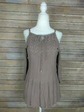 Stacatto Boho Peasant Crochet Tunic Top Cold shoulder 3/4 size small