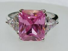 Dazzling Emerald Cut Pale Pink Cubic Zirconia & Trillion Fashion Ring 6 3/4