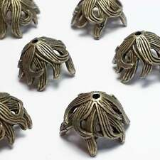 2pcs Leaf Cone Bead Caps Antique Bronze 16mm (Fits 14-16mm) - B36051