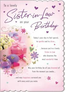 SISTER-IN-LAW BIRTHDAY CARD - QUALITY CARD - MODERN DESIGN & SENTIMENT VERSE