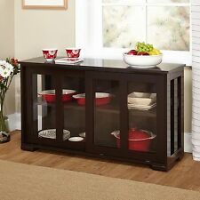 Stackable Cabinet Glass Sliding Door Kitchen China Organizer Dishes Buffet Hutch