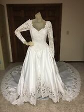Mon Cheri Wedding Dress Size 8 Womens White Beaded Long Sleeve Ballgown