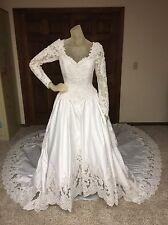 Mon Cheri Wedding Dress Size 8 Womens White Beaded Long Sleeve Ballgown