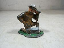Vintage/Antique Barclay Lead Toy Soldier On Radio Kneeling WWI