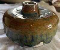 Art Stoneware Pottery Bulb Bud Vase Unique Glossy Blue and Copper Glaze Marked
