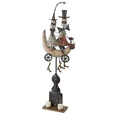 FU62249 - Skeletons Midnight Ride Metal Statue - Holds 2 Votive Candles!