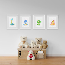 Cute Water Colour Dinosaur Prints Pictures For Nursery Decor Bedroom Art