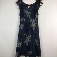 Anthropologie Maeve Size 2 Silk Floral Dress Sleeveless Navy Blue Green Ruffle