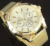 B-Ware Damenuhr Gold Edelstahl Damen Milanaise Armband Armbanduhr Watch U1387