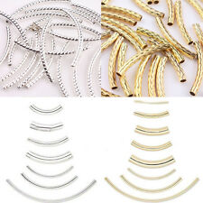 Lots Curved Silver/Gold Plated Elbow Tube Spacer Loose Beads Jewelry Making DIY