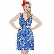 Lindy Bop Ladies 'Sofia' Pinata Print Blue V Neck Wrap Bodice Dress Size 10