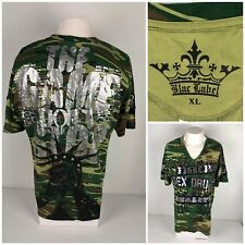 819012b92 Blac Label Mens XL Shirt V Neck Camouflage 100% Cotton The Game Dont Stop  EUC