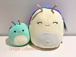 "Squishmallows Elysa the Slug 12"" & Sid the Snail 7""Bundle Brand New Hard to Find"