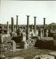 ALGÉRIE Timgad Archéologiques c1900, Photo Stereo Plaque Verre VR8L1