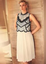 Stunning Hand Beaded Full Pleated Skirt Ivory Dress Size 18 NEW