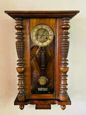 More details for antique victorian vienna wall clock chiming 8 day by junghans germany c1890