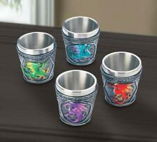 4 pc Shot Glass red blue green medieval Dragon cosplay Drinking game cup statue