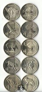 Peru: 1 Sol 2017-2019. Animals. Full set of 10 Coins. UNC