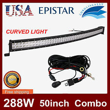 50in 288W EPISTAR FLOOD SPOT COMBO CURVED LED LIGHT FOG DRIVING OFFROAD LAMP SUV