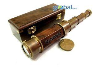 "Antique Maritime Handheld Brass Telescope 24"" Spyglass Scope With Wooden Box"