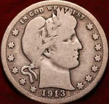 1913 Philadelphia Mint Silver Barber Quarter