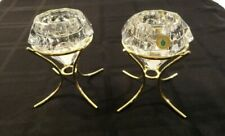 """New Listing""""Two"""" Partylite Solitare Diamond Cut Crystal/Brass Votive Candle Holders Germany"""