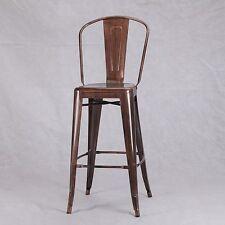 TOLIX INSPIRED METAL HIGHBACK STOOL COPPER BRONZE INDUSTRIAL BREAKFAST BAR CAFE