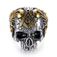 Gold Plated Skull Head Stainless Steel Freemasonry Mason Men's Craft Ring M112