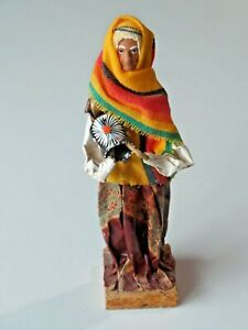 Vtg Mexican Folk Art Paper Mache Figure Old Woman Holding Jar E.B. Elaborado