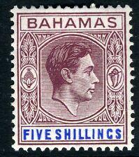 Bahamas - 1948 5/- Marrón-Púrpura & Profundo Azul Brillante SG 156d V10582 Menta montado
