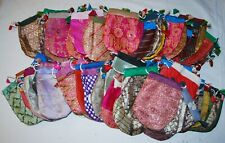 New 100 x Sari Silk and Poly Drawstring Pouches Hippy Fair Trade Ethnic Gift Bag