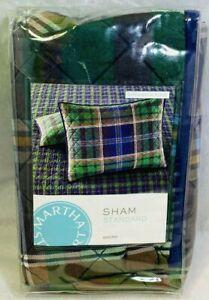 Martha Stewart Rhinebeck Plaid Quilted STANDARD Pillow Sham Green/Blue NEW