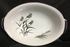 """KUTANI CHINA PLATINUM AND GOLD 10"""" OVAL VEGETABLE BOWL WITH HANDLES"""