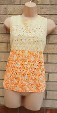 RIVER ISLAND CREAM NEON ORANGE FLORAL EMBROIDERED BUTTONED BACK TOP BLOUSE 14 L
