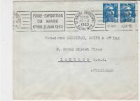 France 1952 Havre Exhibition Slogan Cancel Stamps Cover to London Ref 32003